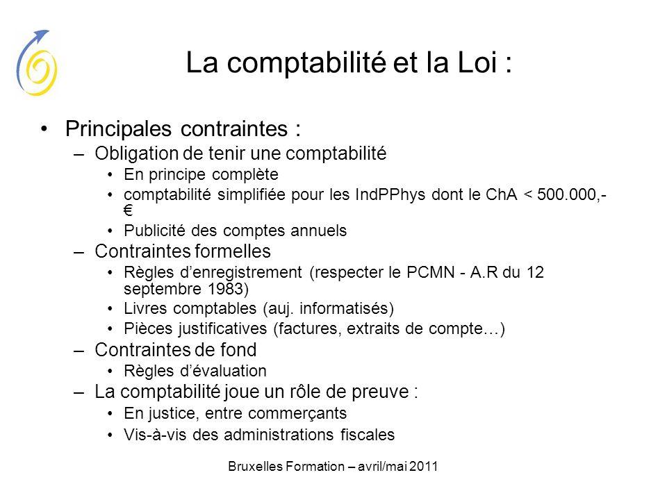 Bruxelles Formation – avril/mai 2011 La comptabilité et la Loi : Principales contraintes : –Obligation de tenir une comptabilité En principe complète