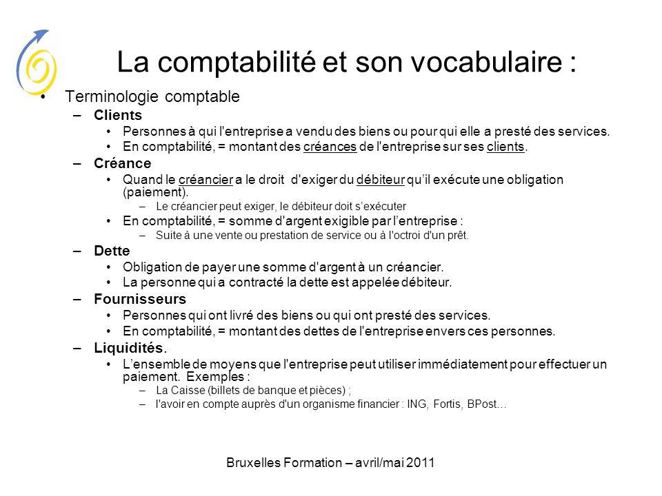 Bruxelles Formation – avril/mai 2011 La comptabilité et son vocabulaire : Terminologie comptable –Clients Personnes à qui l'entreprise a vendu des bie
