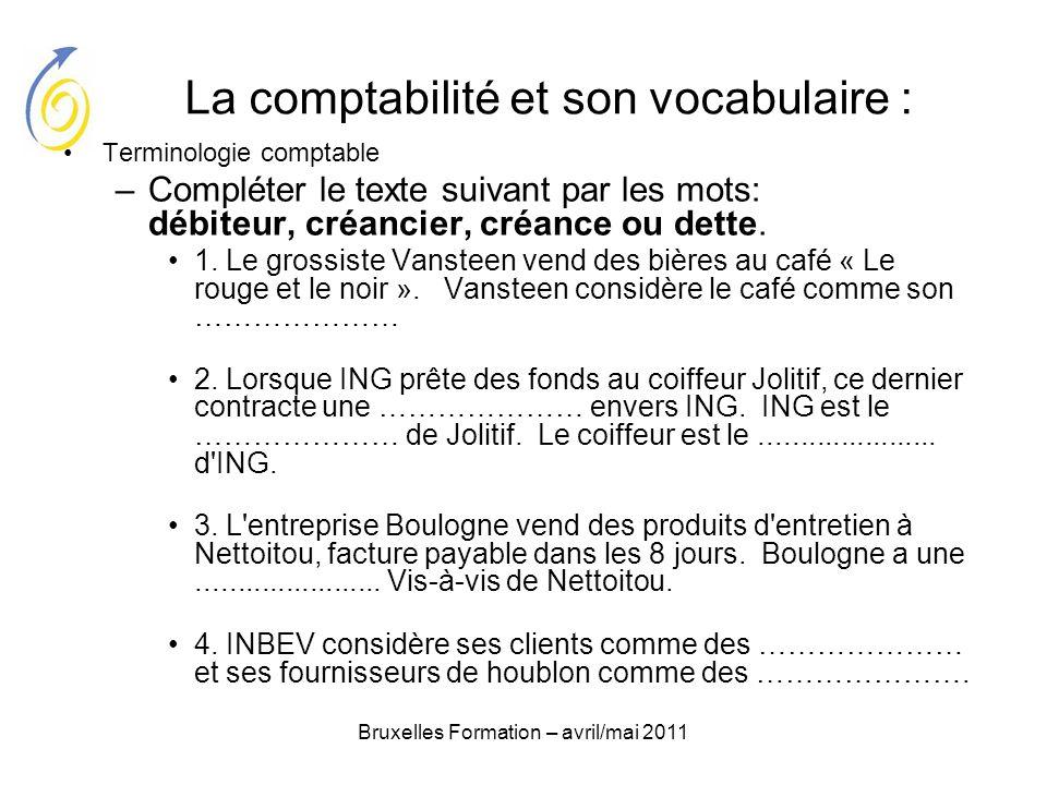 Bruxelles Formation – avril/mai 2011 La comptabilité et son vocabulaire : Terminologie comptable –Compléter le texte suivant par les mots: débiteur, c