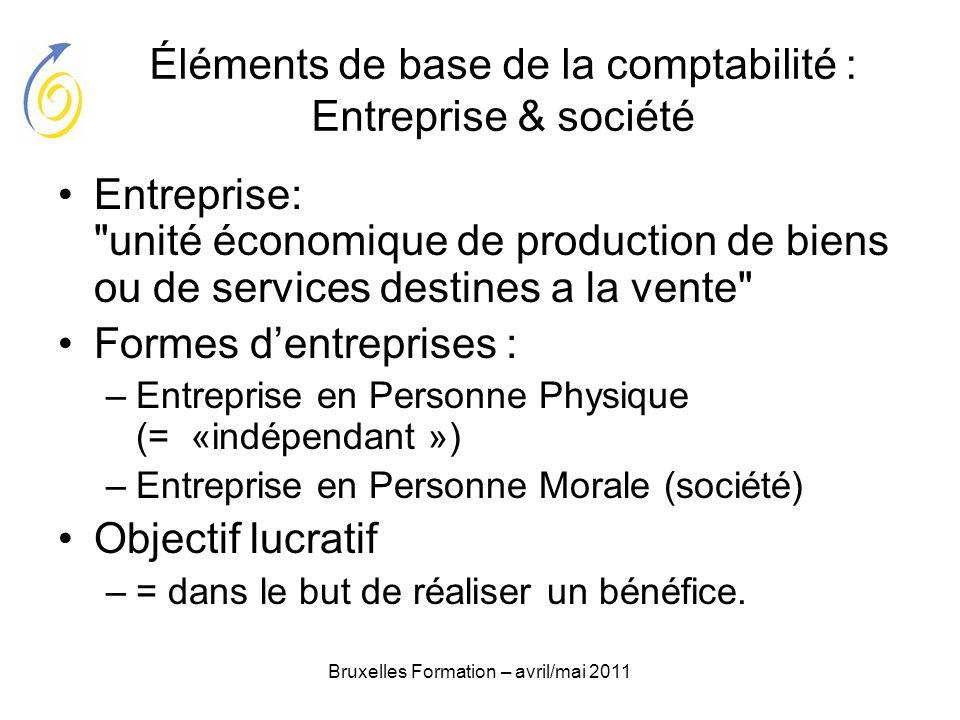 Bruxelles Formation – avril/mai 2011 Éléments de base de la comptabilité : Entreprise & société Entreprise: