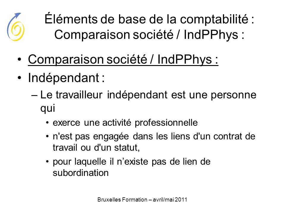 Bruxelles Formation – avril/mai 2011 Éléments de base de la comptabilité : Comparaison société / IndPPhys : Comparaison société / IndPPhys : Indépenda