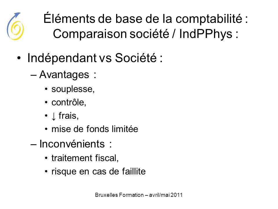 Bruxelles Formation – avril/mai 2011 Éléments de base de la comptabilité : Comparaison société / IndPPhys : Indépendant vs Société : –Avantages : soup