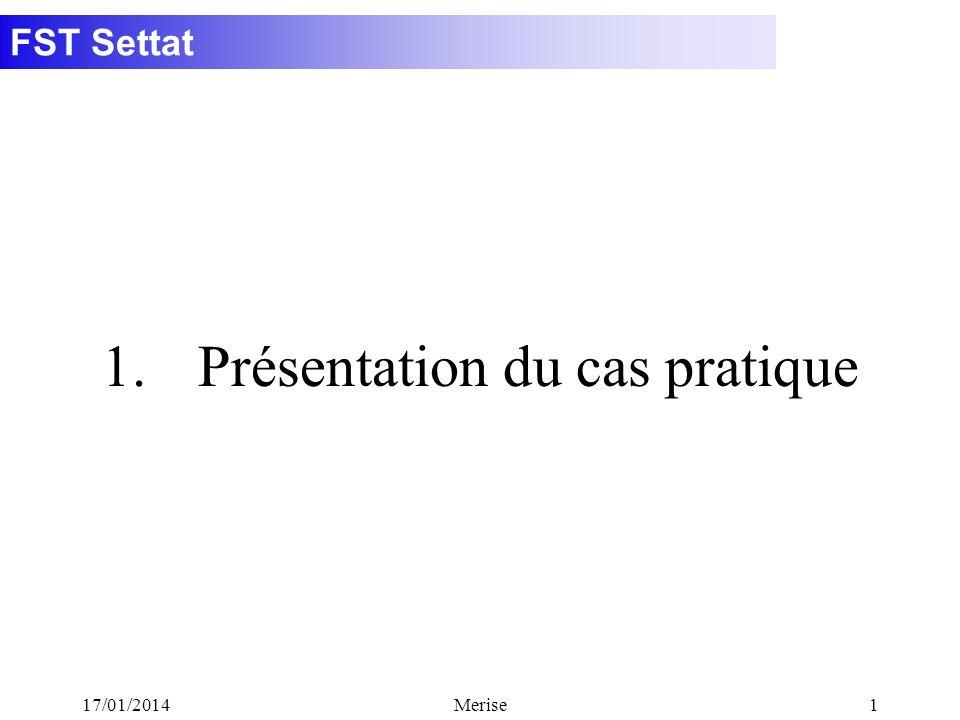 FST Settat 17/01/2014Merise1 1.Présentation du cas pratique