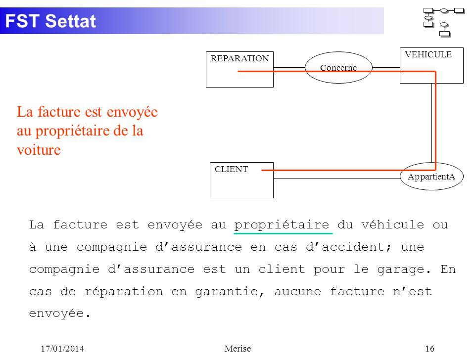 FST Settat 17/01/2014Merise16 CLIENT AppartientA La facture est envoyée au propriétaire du véhicule ou à une compagnie dassurance en cas daccident; un