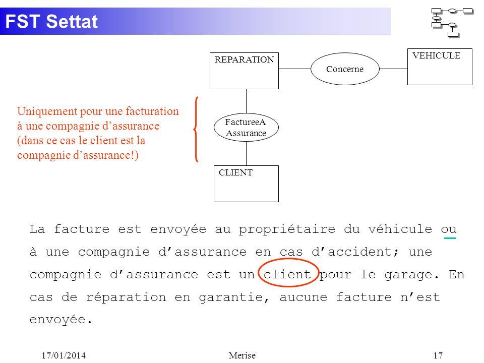 FST Settat 17/01/2014Merise17 CLIENT FactureeA Assurance La facture est envoyée au propriétaire du véhicule ou à une compagnie dassurance en cas dacci