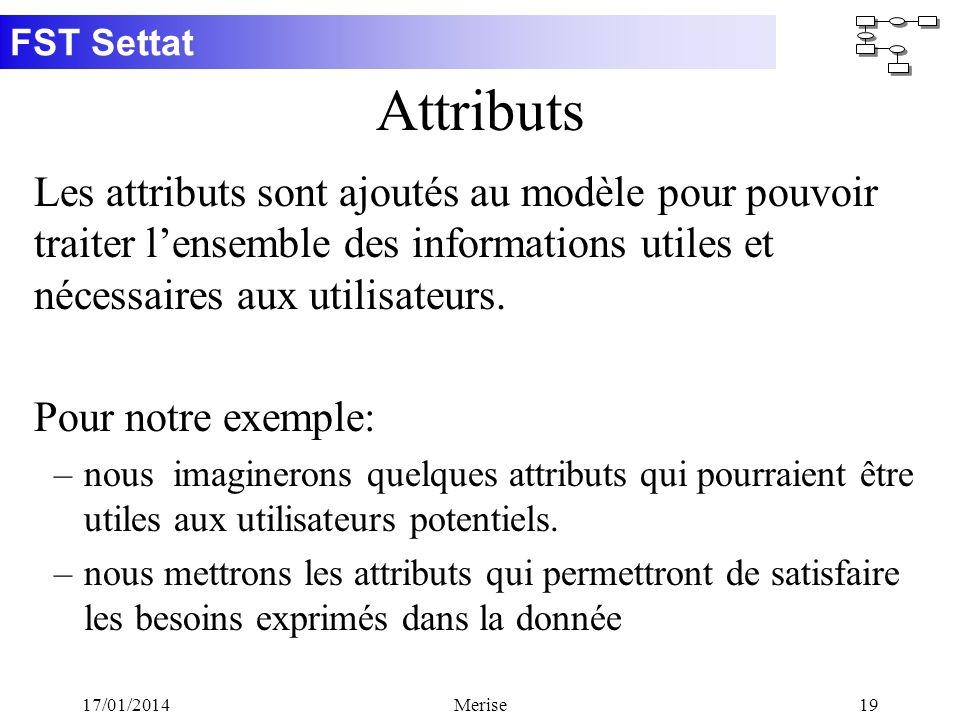 FST Settat 17/01/2014Merise19 Attributs Les attributs sont ajoutés au modèle pour pouvoir traiter lensemble des informations utiles et nécessaires aux