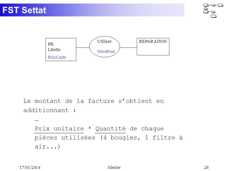 FST Settat 17/01/2014Merise26 Le montant de la facture sobtient en additionnant : … Prix unitaire * Quantité de chaque pièces utilisées (4 bougies, 1