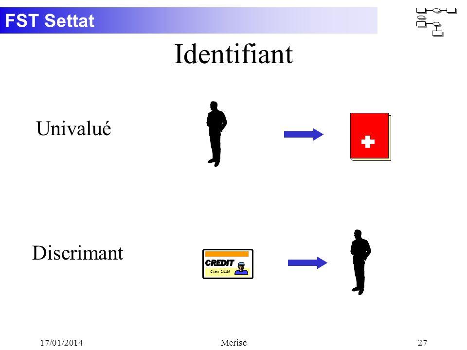 FST Settat 17/01/2014Merise27 Identifiant Client 231256 Univalué Discrimant