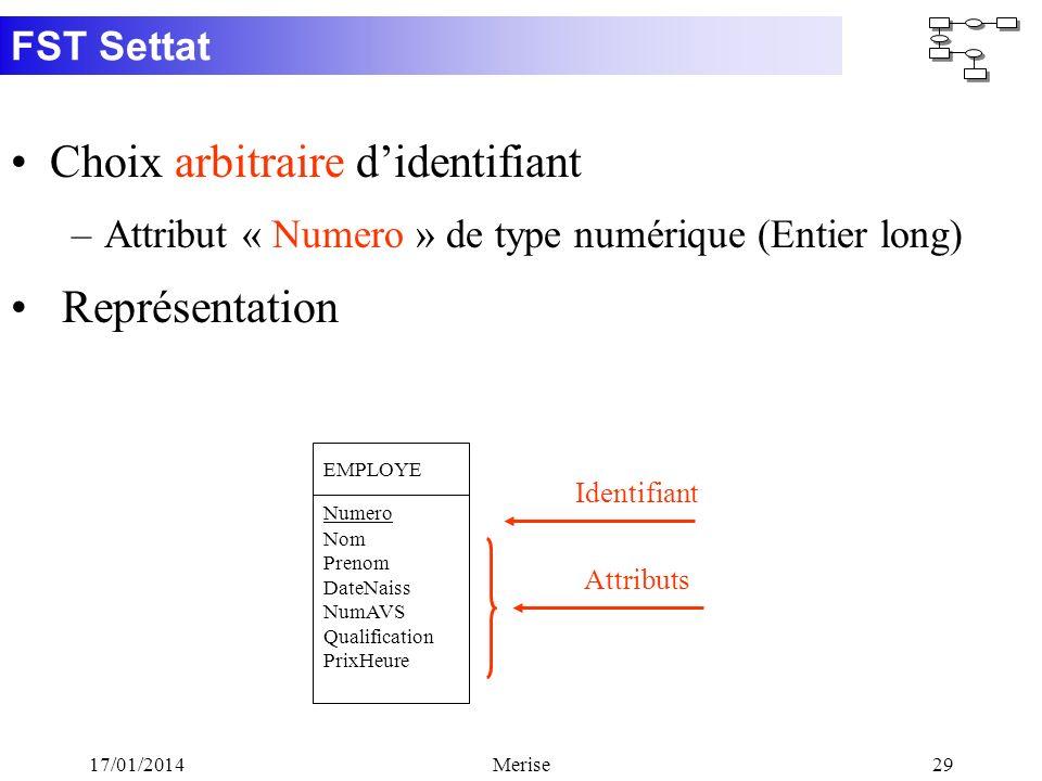 FST Settat 17/01/2014Merise29 Choix arbitraire didentifiant –Attribut « Numero » de type numérique (Entier long) Représentation EMPLOYE Nom Prenom Dat