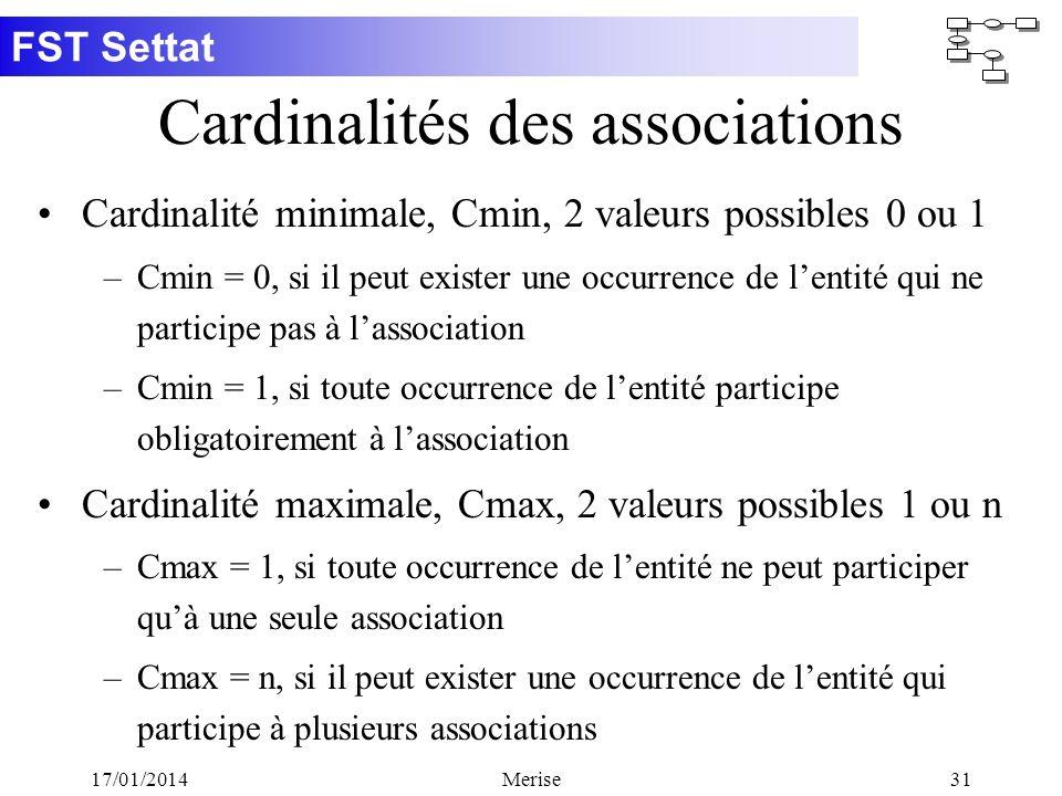 FST Settat 17/01/2014Merise31 Cardinalités des associations Cardinalité minimale, Cmin, 2 valeurs possibles 0 ou 1 –Cmin = 0, si il peut exister une o