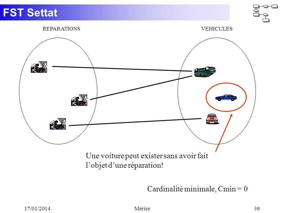 FST Settat 17/01/2014Merise36 Cardinalité minimale, Cmin = 0 Une voiture peut exister sans avoir fait lobjet dune réparation! REPARATIONSVEHICULES
