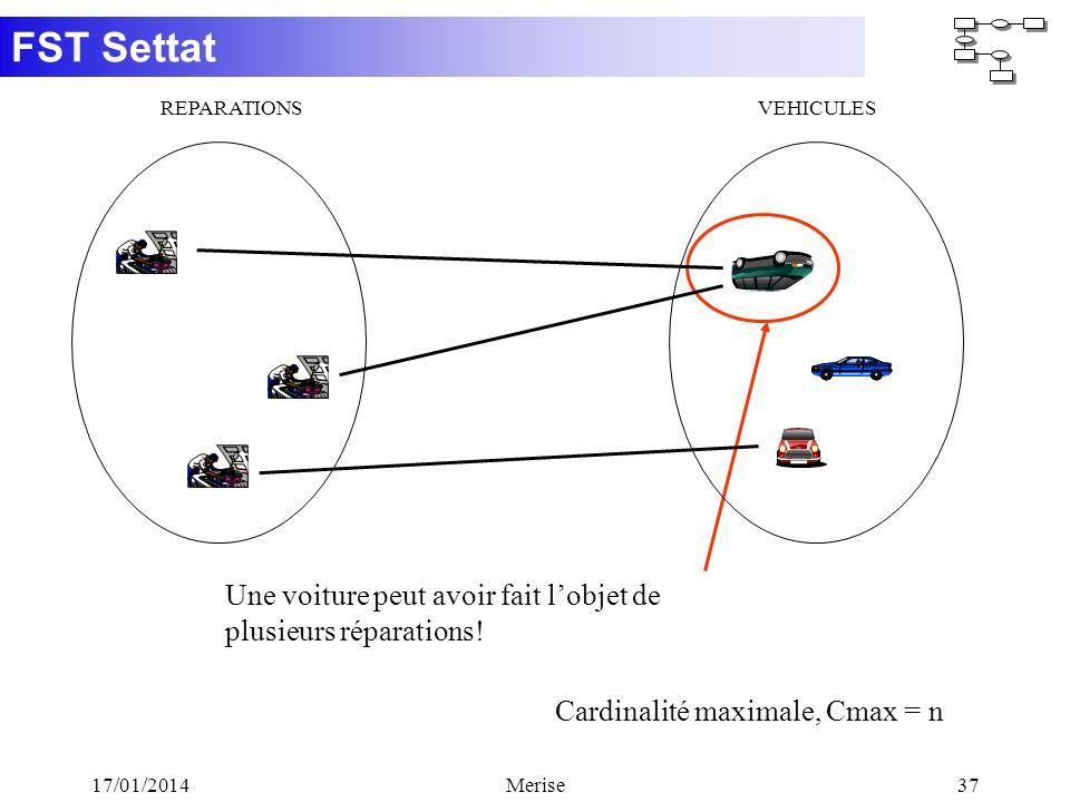 FST Settat 17/01/2014Merise37 Cardinalité maximale, Cmax = n Une voiture peut avoir fait lobjet de plusieurs réparations! REPARATIONSVEHICULES