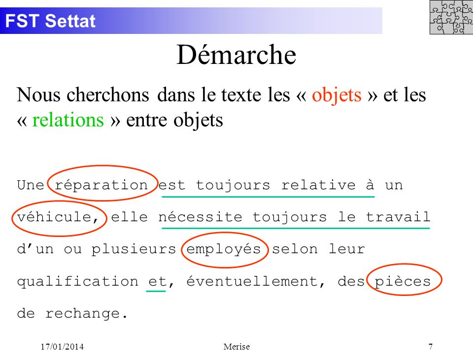 FST Settat 17/01/2014Merise7 Démarche Nous cherchons dans le texte les « objets » et les « relations » entre objets Une réparation est toujours relati