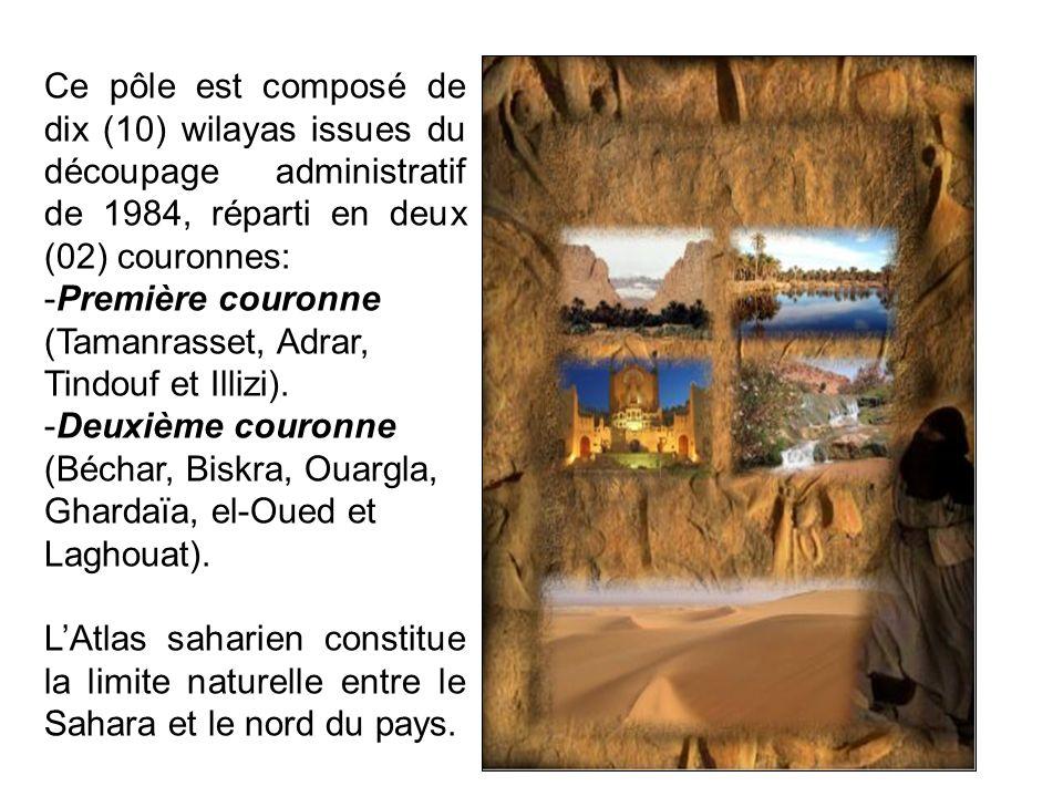 Ce pôle est composé de dix (10) wilayas issues du découpage administratif de 1984, réparti en deux (02) couronnes: -Première couronne (Tamanrasset, Ad