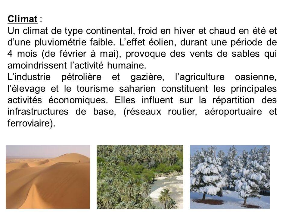 Climat : Un climat de type continental, froid en hiver et chaud en été et dune pluviométrie faible. Leffet éolien, durant une période de 4 mois (de fé