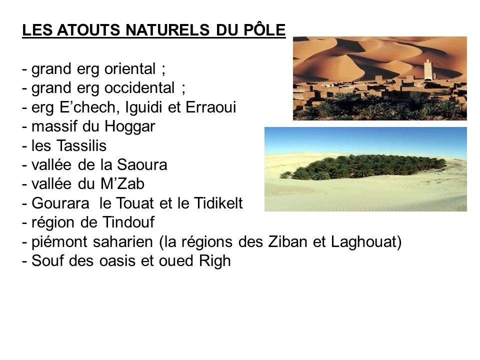 LES ATOUTS NATURELS DU PÔLE - grand erg oriental ; - grand erg occidental ; - erg Echech, Iguidi et Erraoui - massif du Hoggar - les Tassilis - vallée