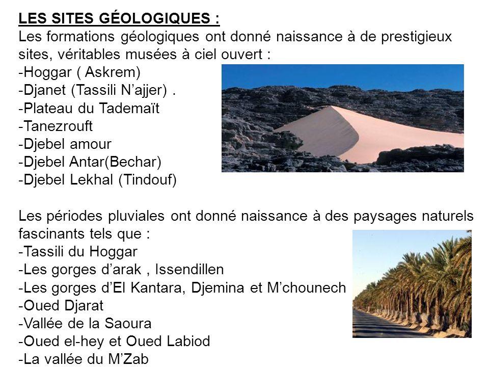 LES SITES GÉOLOGIQUES : Les formations géologiques ont donné naissance à de prestigieux sites, véritables musées à ciel ouvert : -Hoggar ( Askrem) -Dj