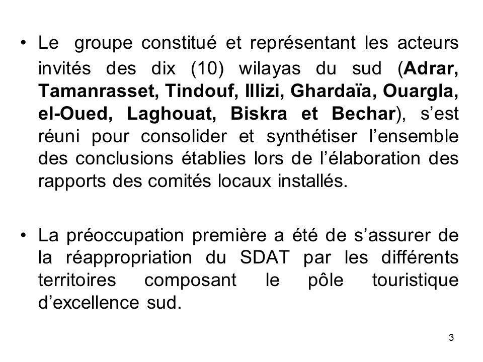 Le groupe constitué et représentant les acteurs invités des dix (10) wilayas du sud (Adrar, Tamanrasset, Tindouf, Illizi, Ghardaïa, Ouargla, el-Oued,