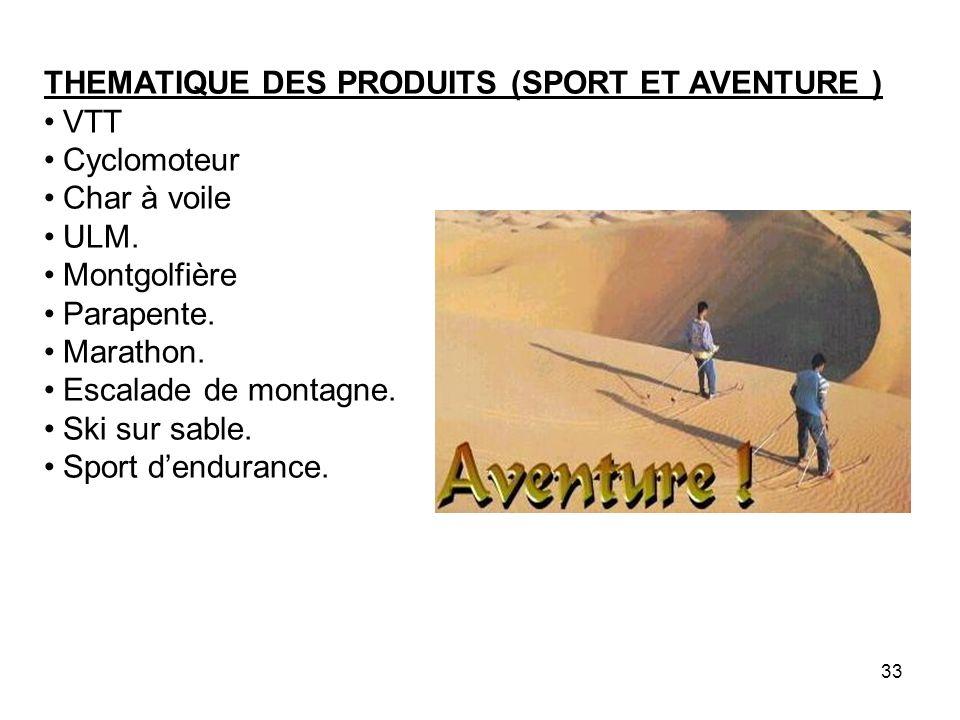THEMATIQUE DES PRODUITS (SPORT ET AVENTURE ) VTT Cyclomoteur Char à voile ULM. Montgolfière Parapente. Marathon. Escalade de montagne. Ski sur sable.
