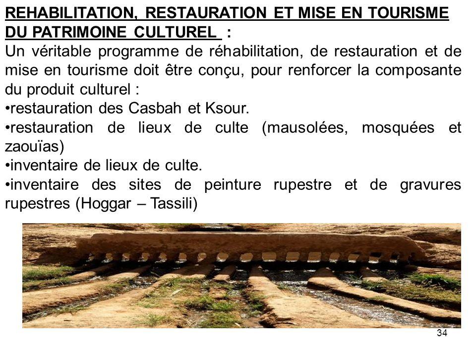 REHABILITATION, RESTAURATION ET MISE EN TOURISME DU PATRIMOINE CULTUREL : Un véritable programme de réhabilitation, de restauration et de mise en tour