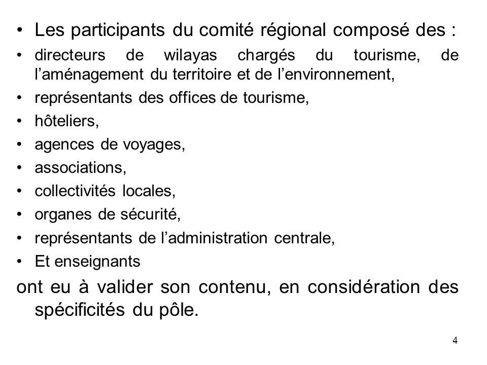 Les débats ont porté sur les trois (03) principaux volets ci- après : 1 – état des lieux et diagnostic du tourisme, au niveau du pôle touristique dexcellence du Sud, en termes doffre, produits, activités, amélioration et développement de lexistant, pour une mise en tourisme à court et moyen termes ; 2 – les expériences vécues par les différents acteurs, leurs atouts, leurs handicaps et les moyens de leur mise en œuvre, sont à proposer dans le cadre dune offre de qualité, voire dexcellence ; 3 – les recommandations les plus pertinentes pour une relance durable du tourisme dans les Suds et comme préalable dun développement durable, la préservation de lenvironnement.