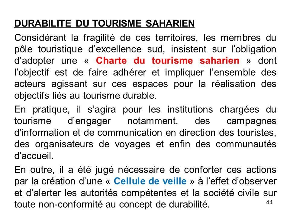 DURABILITE DU TOURISME SAHARIEN Considérant la fragilité de ces territoires, les membres du pôle touristique dexcellence sud, insistent sur lobligatio