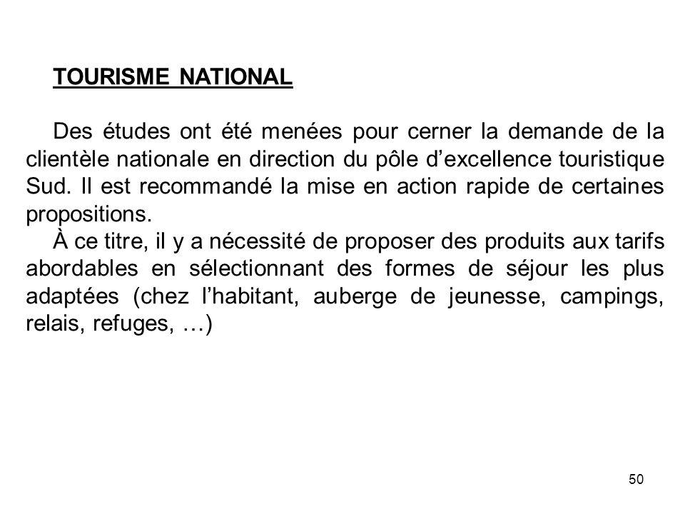 TOURISME NATIONAL Des études ont été menées pour cerner la demande de la clientèle nationale en direction du pôle dexcellence touristique Sud. Il est