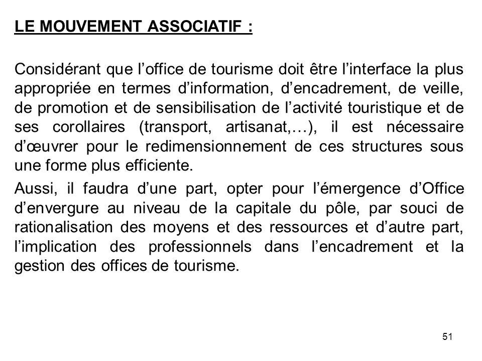 LE MOUVEMENT ASSOCIATIF : Considérant que loffice de tourisme doit être linterface la plus appropriée en termes dinformation, dencadrement, de veille,