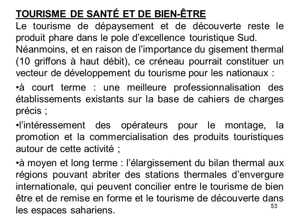TOURISME DE SANTÉ ET DE BIEN-ÊTRE Le tourisme de dépaysement et de découverte reste le produit phare dans le pole dexcellence touristique Sud. Néanmoi