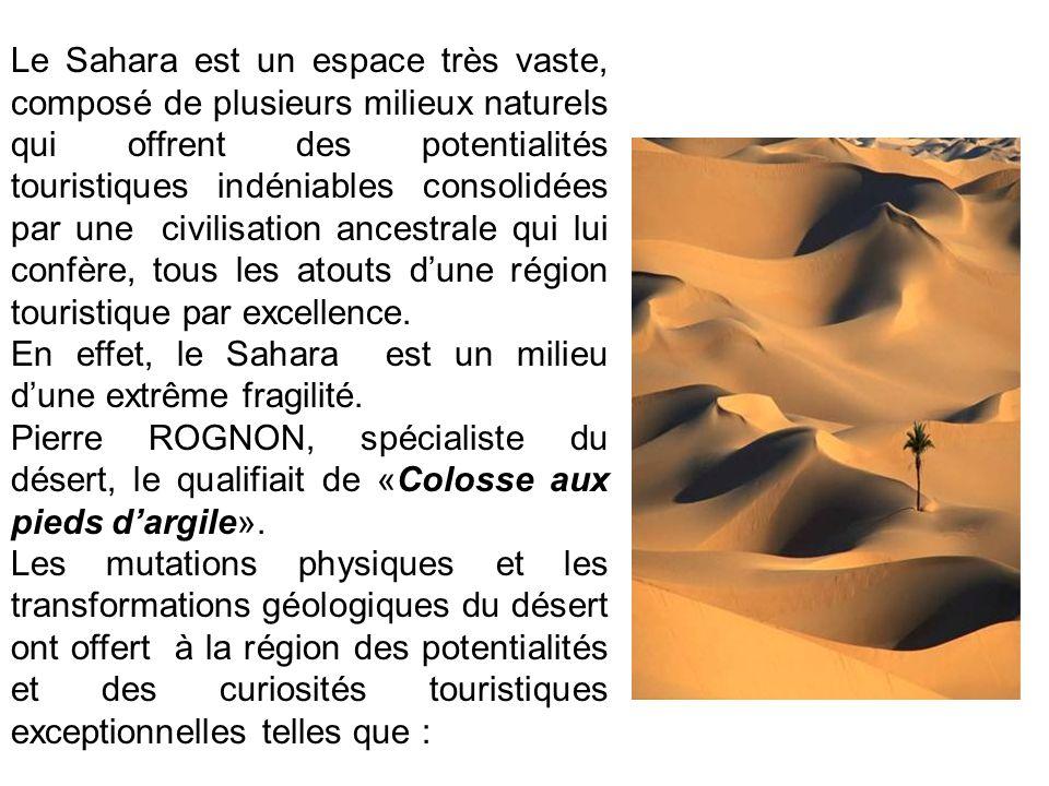 Le Sahara est un espace très vaste, composé de plusieurs milieux naturels qui offrent des potentialités touristiques indéniables consolidées par une c