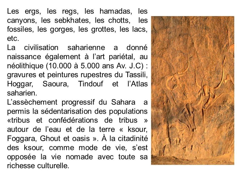 Les ergs, les regs, les hamadas, les canyons, les sebkhates, les chotts, les fossiles, les gorges, les grottes, les lacs, etc. La civilisation saharie