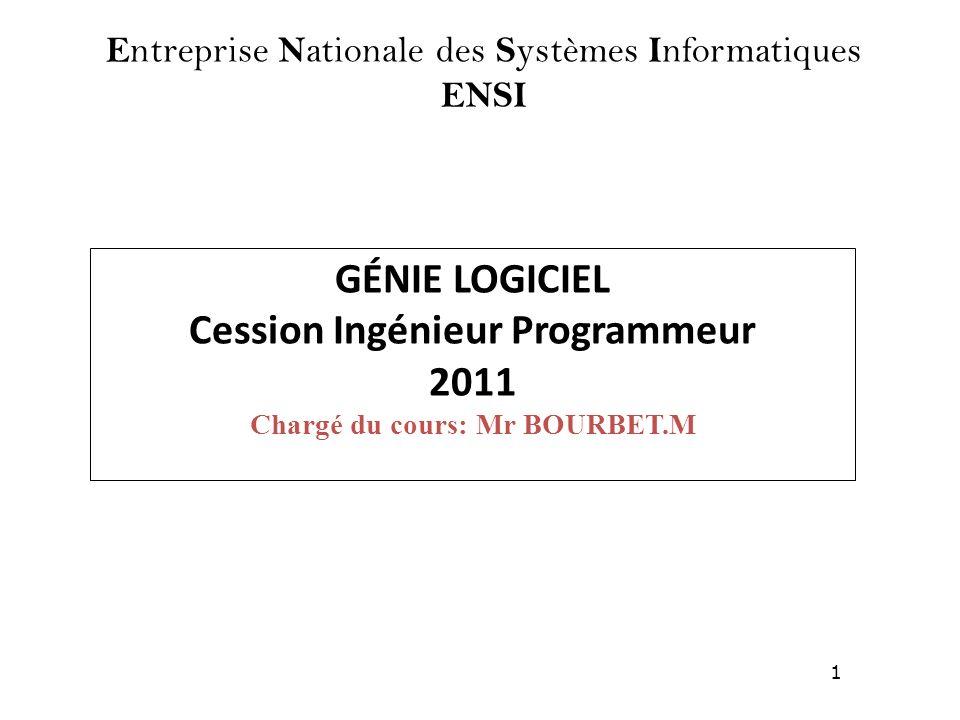 1 GÉNIE LOGICIEL Cession Ingénieur Programmeur 2011 Chargé du cours: Mr BOURBET.M E ntreprise N ationale des S ystèmes I nformatiques ENSI