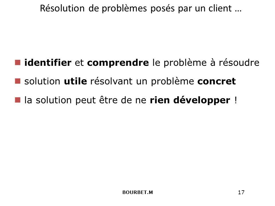17 Résolution de problèmes posés par un client … identifier et comprendre le problème à résoudre solution utile résolvant un problème concret la solution peut être de ne rien développer .