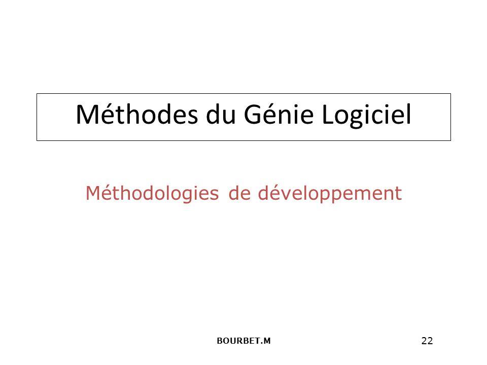 22 Méthodes du Génie Logiciel Méthodologies de développement BOURBET.M