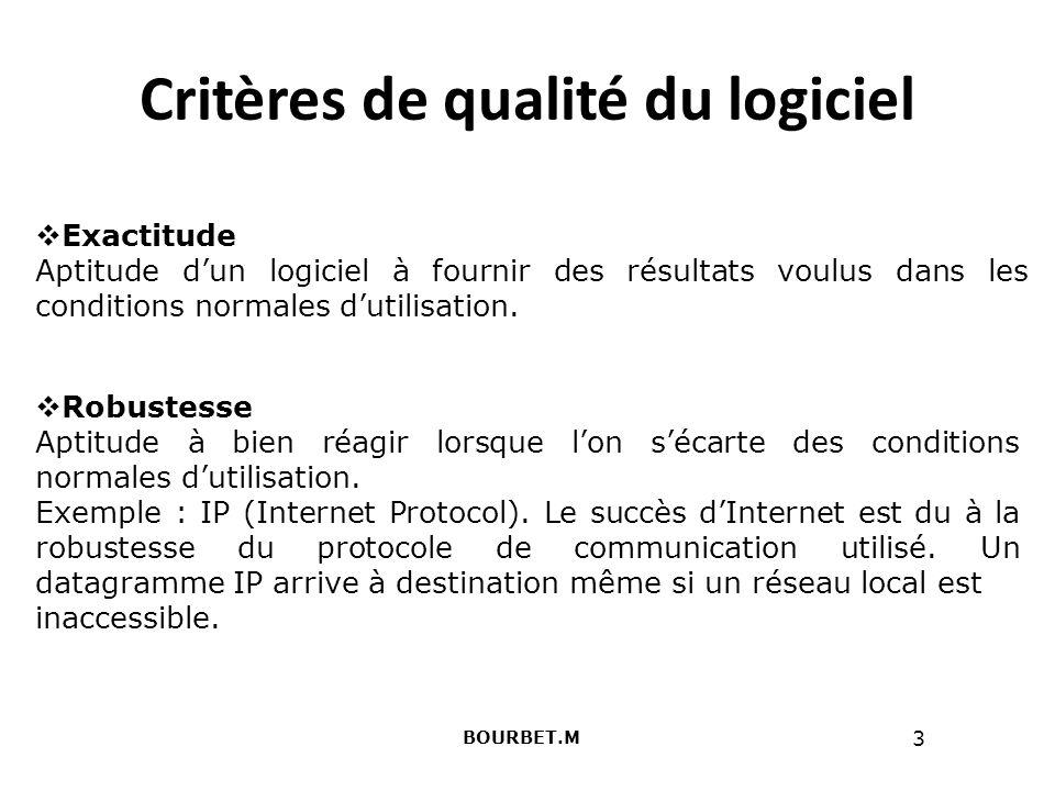 3 Critères de qualité du logiciel BOURBET.M Exactitude Aptitude dun logiciel à fournir des résultats voulus dans les conditions normales dutilisation.