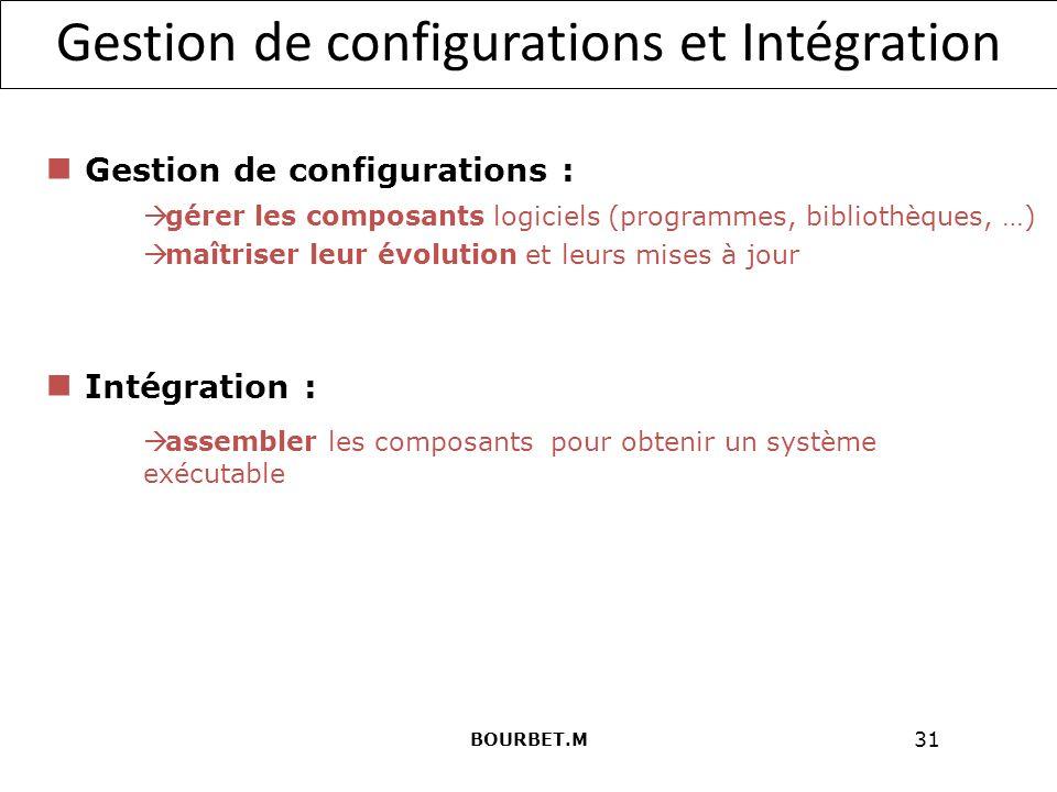 31 Gestion de configurations et Intégration Gestion de configurations : gérer les composants logiciels (programmes, bibliothèques, …) maîtriser leur évolution et leurs mises à jour Intégration : assembler les composants pour obtenir un système exécutable BOURBET.M