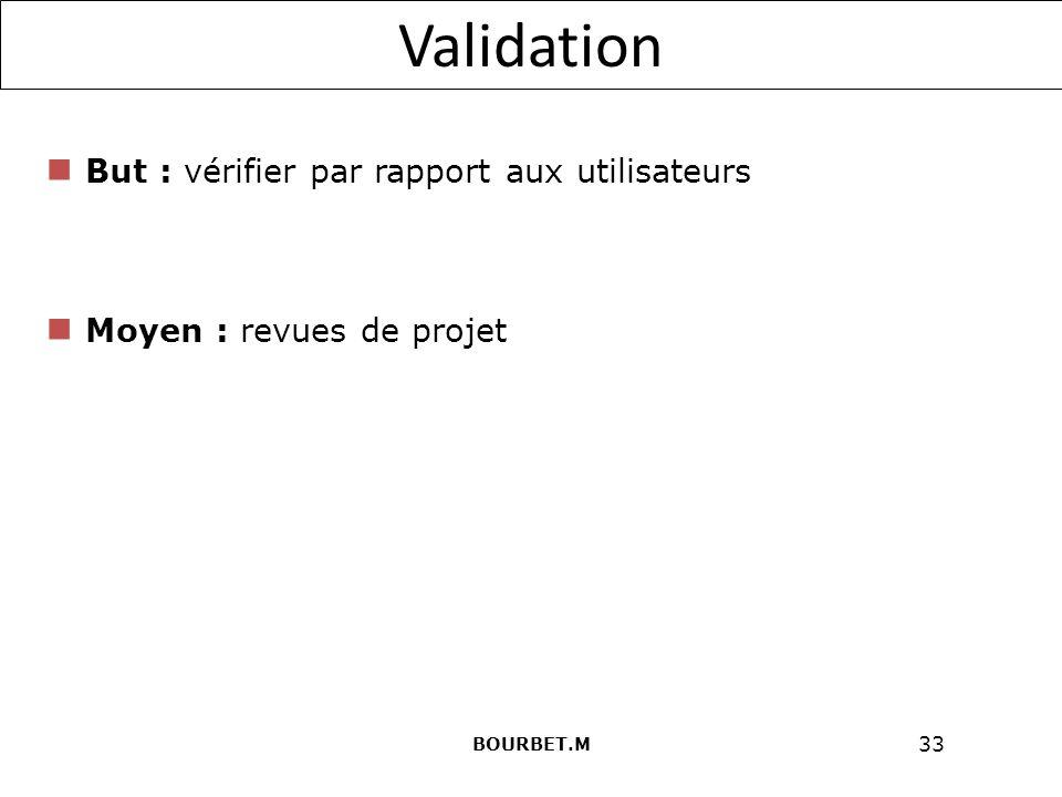 33 Validation But : vérifier par rapport aux utilisateurs Moyen : revues de projet BOURBET.M