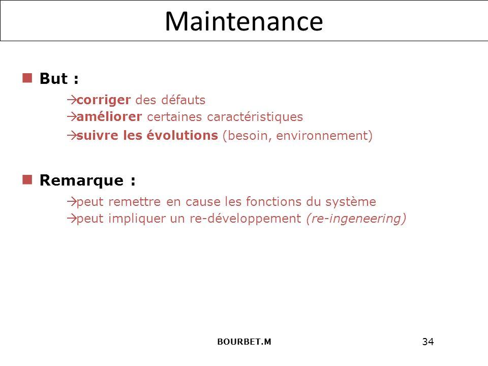 34 Maintenance But : corriger des défauts améliorer certaines caractéristiques suivre les évolutions (besoin, environnement) peut remettre en cause les fonctions du système peut impliquer un re-développement (re-ingeneering) Remarque : BOURBET.M