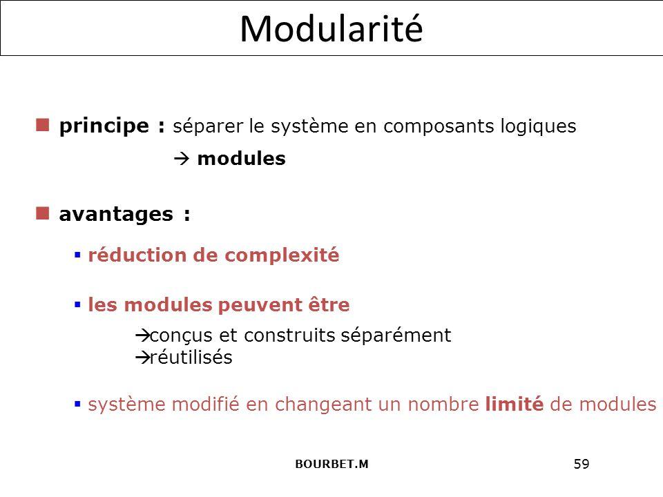 59 Modularité principe : séparer le système en composants logiques avantages : modules conçus et construits séparément réutilisés réduction de complexité les modules peuvent être système modifié en changeant un nombre limité de modules BOURBET.M
