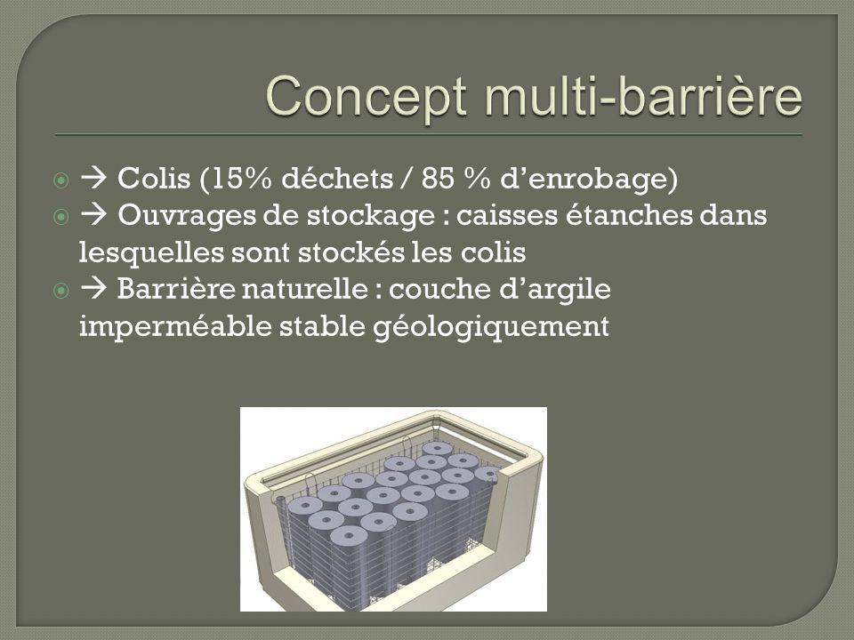 Colis (15% déchets / 85 % denrobage) Ouvrages de stockage : caisses étanches dans lesquelles sont stockés les colis Barrière naturelle : couche dargil