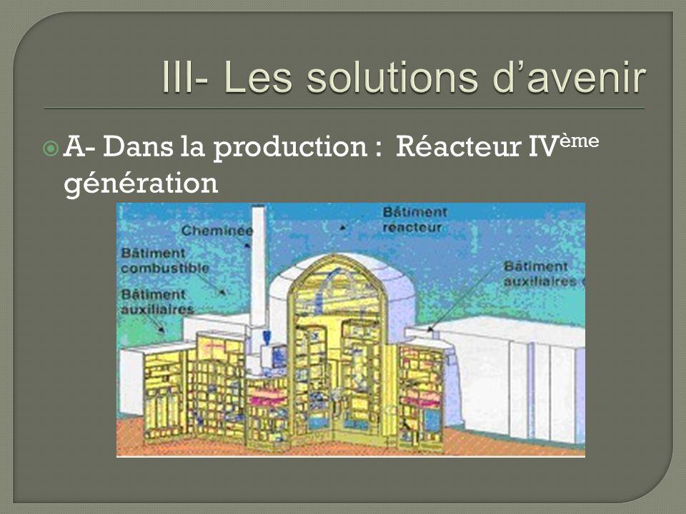 A- Dans la production : Réacteur IV ème génération