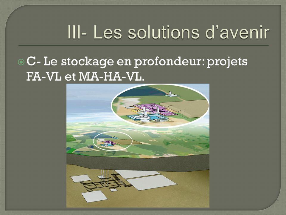 C- Le stockage en profondeur: projets FA-VL et MA-HA-VL.