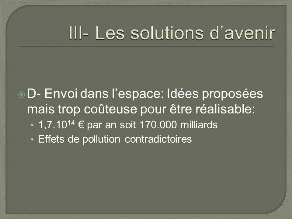 D- Envoi dans lespace: Idées proposées mais trop coûteuse pour être réalisable: 1,7.10 14 par an soit 170.000 milliards Effets de pollution contradict