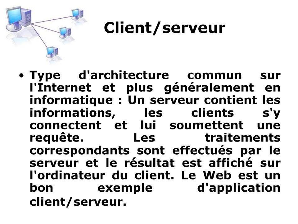 Client/serveur Type d'architecture commun sur l'Internet et plus généralement en informatique : Un serveur contient les informations, les clients s'y