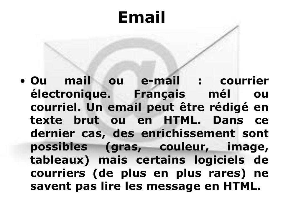 Email Ou mail ou e-mail : courrier électronique. Français mél ou courriel. Un email peut être rédigé en texte brut ou en HTML. Dans ce dernier cas, de