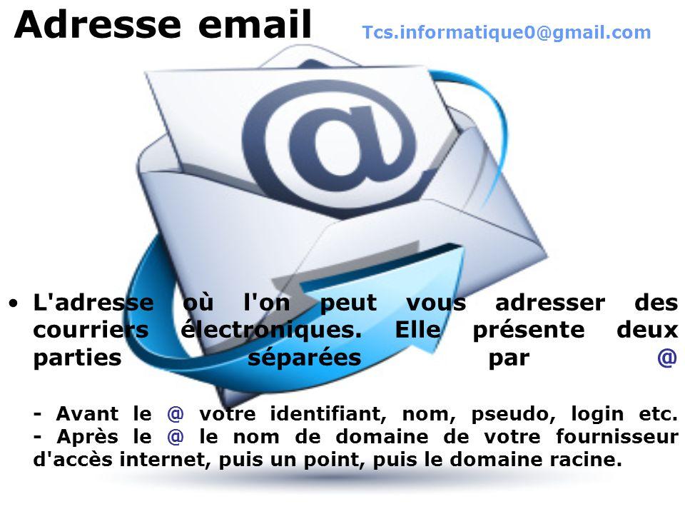 Adresse email L'adresse où l'on peut vous adresser des courriers électroniques. Elle présente deux parties séparées par @ - Avant le @ votre identifia