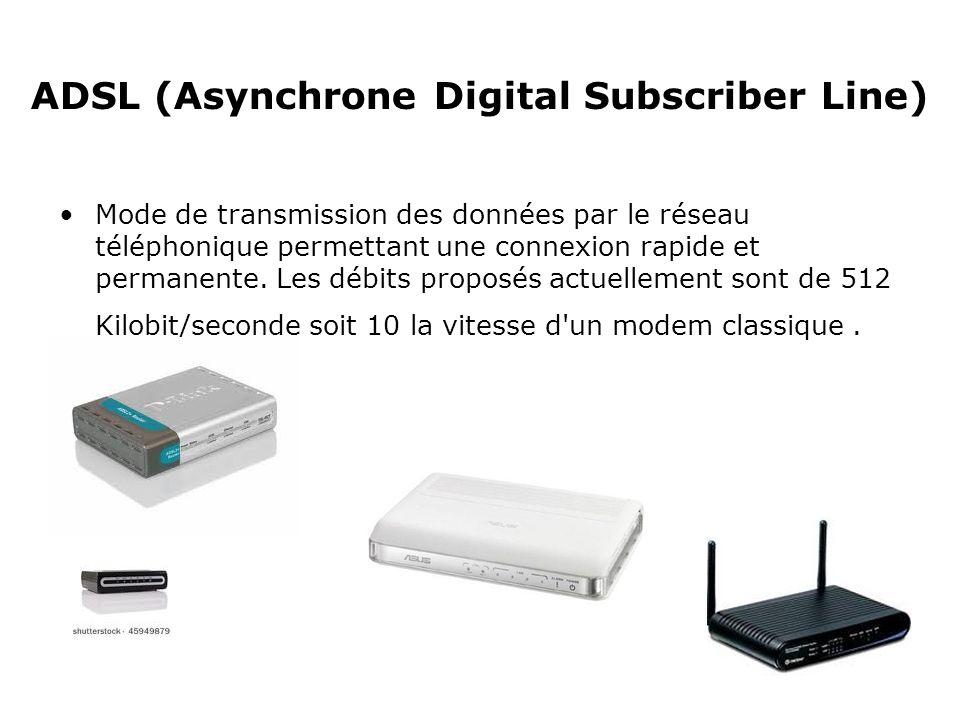 ADSL (Asynchrone Digital Subscriber Line) Mode de transmission des données par le réseau téléphonique permettant une connexion rapide et permanente. L