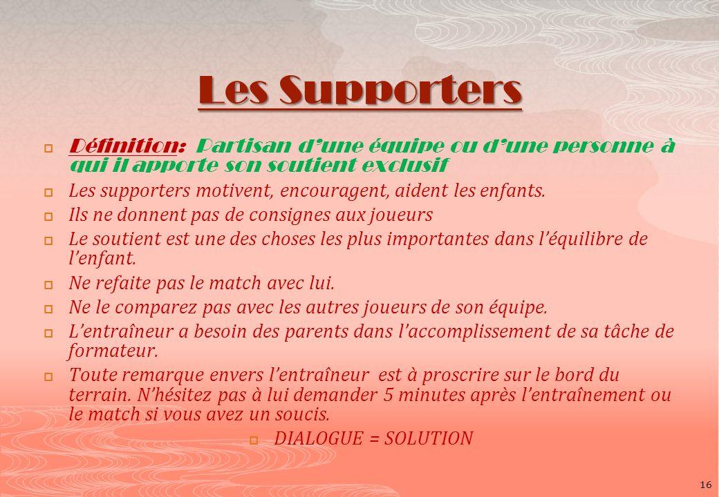 Les Supporters Définition: Partisan dune équipe ou dune personne à qui il apporte son soutient exclusif Les supporters motivent, encouragent, aident l