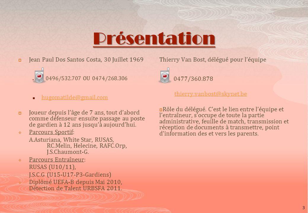 Présentation Jean Paul Dos Santos Costa, 30 Juillet 1969 0496/532.707 OU 0474/268.306 hugomatilde@gmail.com Joueur depuis lâge de 7 ans, tout dabord c