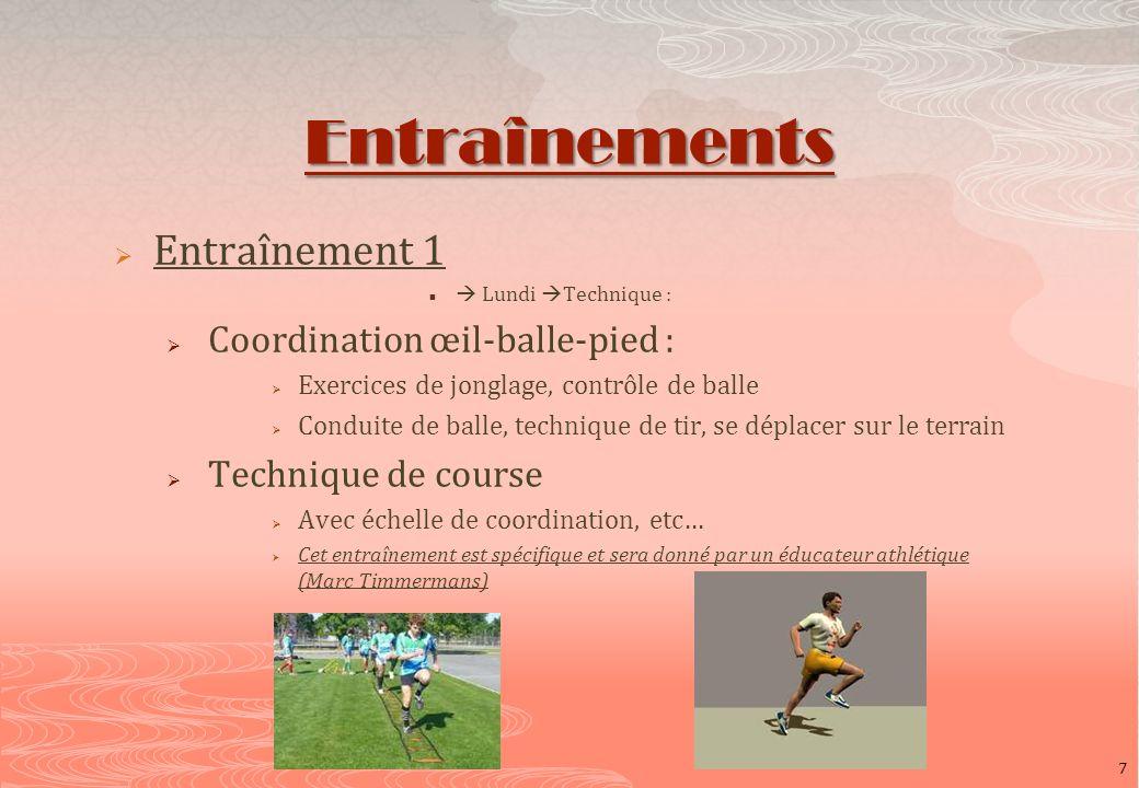 Entraînements Entraînement 1 Lundi Technique : Coordination œil-balle-pied : Exercices de jonglage, contrôle de balle Conduite de balle, technique de